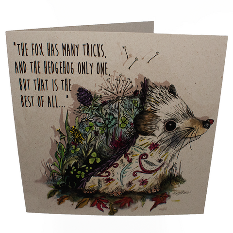 hedgehog greetings card, sold by ethical fashion brand Viva La Vegan.