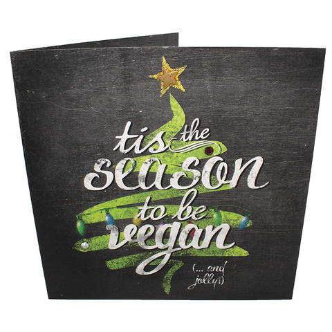Vegan Christmas Card : Tis The Season To Be Vegan, sold by ethical fashion brand Viva La Vegan.