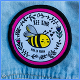 bee kind patch, sold by ethical fashion brand Viva La Vegan.