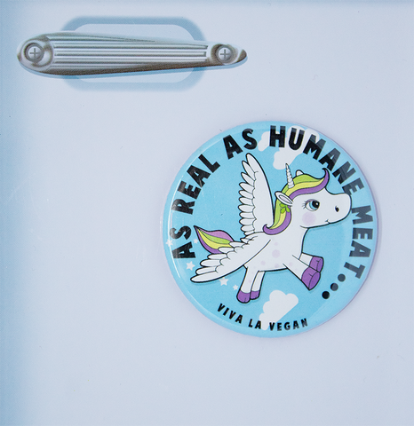 vegan magnet: as Real as humane meat. Vegan Unicorn