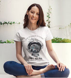 The planet's future is in our hands roll sleeve ladies t-shirt by eco-ethical brand  Viva La Vegan