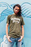 humane being unisex tshirt in moss green
