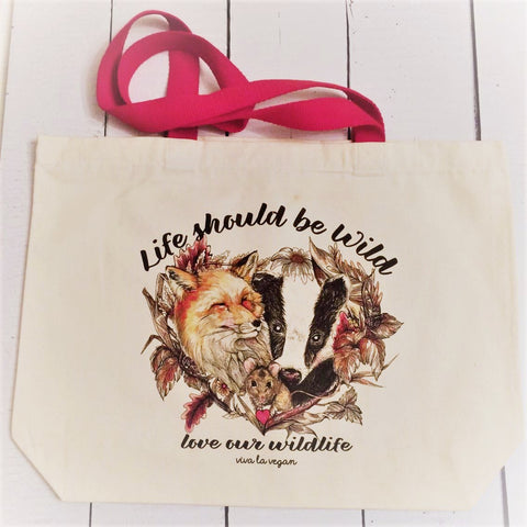 1. Bag: Life Should Be Wild- Natural Organic Canvas 8oz Shopper