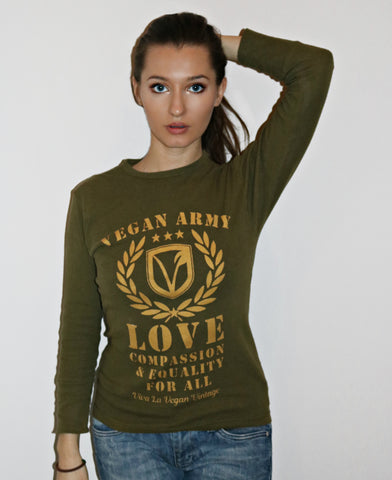 Vegan army. long sleeve graphic vest