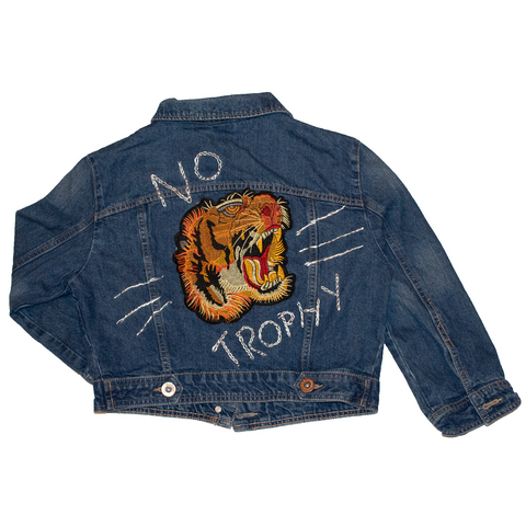 no trophy cropped denim jacket, sold by ethical fashion brand Viva La Vegan.