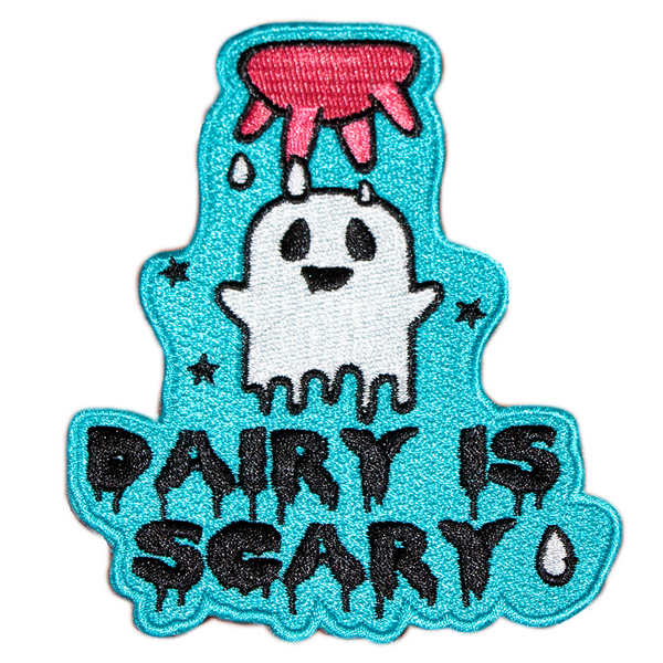 Dairy Is Scary iron on patch by eco ethical brand viva la vegan