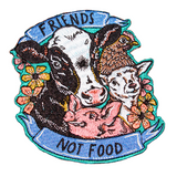 Friends not food iron on patch by eco ethical brand viva la vegan