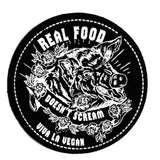 Real Food Doesn'tScream. Sew-on Vegan Patch