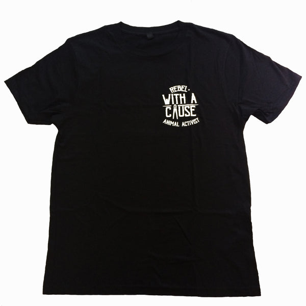 rebel with a cause short sleeved tshirt, sold by ethical fashion brand Viva La Vegan.