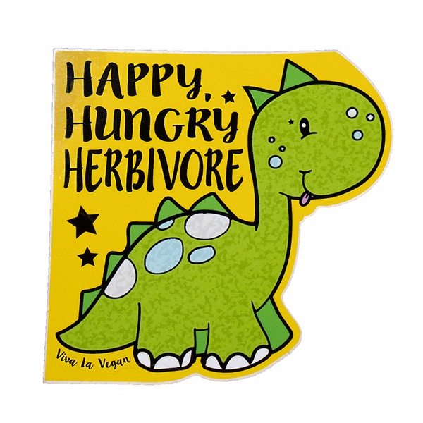 Happy Hungry Herbivore vinyl sticker, sold by ethical fashion brand Viva La Vegan.