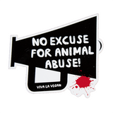 No Excuse For Animal Abuse vinyl sticker, sold by ethical fashion brand Viva La Vegan.