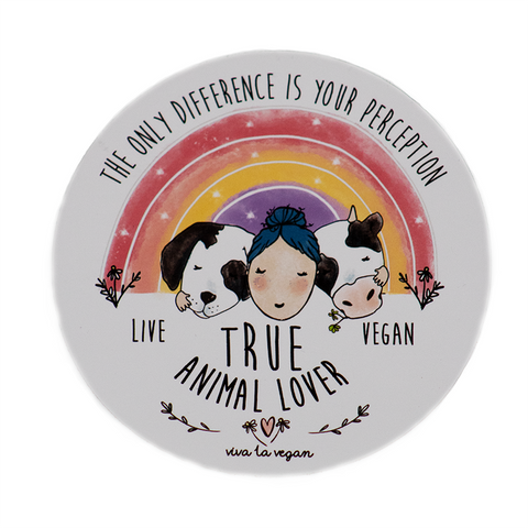 Vegan Sticker True Animal Lover, sold by ethical fashion brand Viva La Vegan.