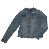 garden of eden reworked denim jacket, sold by ethical fashion brand Viva La Vegan.