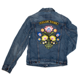 vegan tribe bouquet reworked denim jacket, sold by ethical fashion brand Viva La Vegan.
