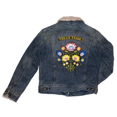 vegan tribe reworked denim trucker jacket, sold by ethical fashion brand Viva La Vegan.