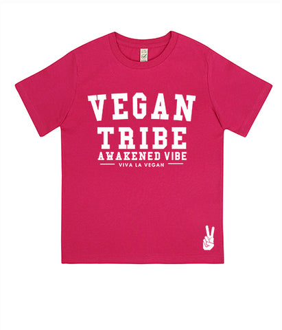 Childrens Vegan Tshirt: Vegan Tribe HOT PINKl