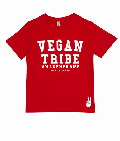 Childrens Vegan Tshirt: Vegan Tribe RED