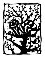 Grinning cheshire cat in a tree.