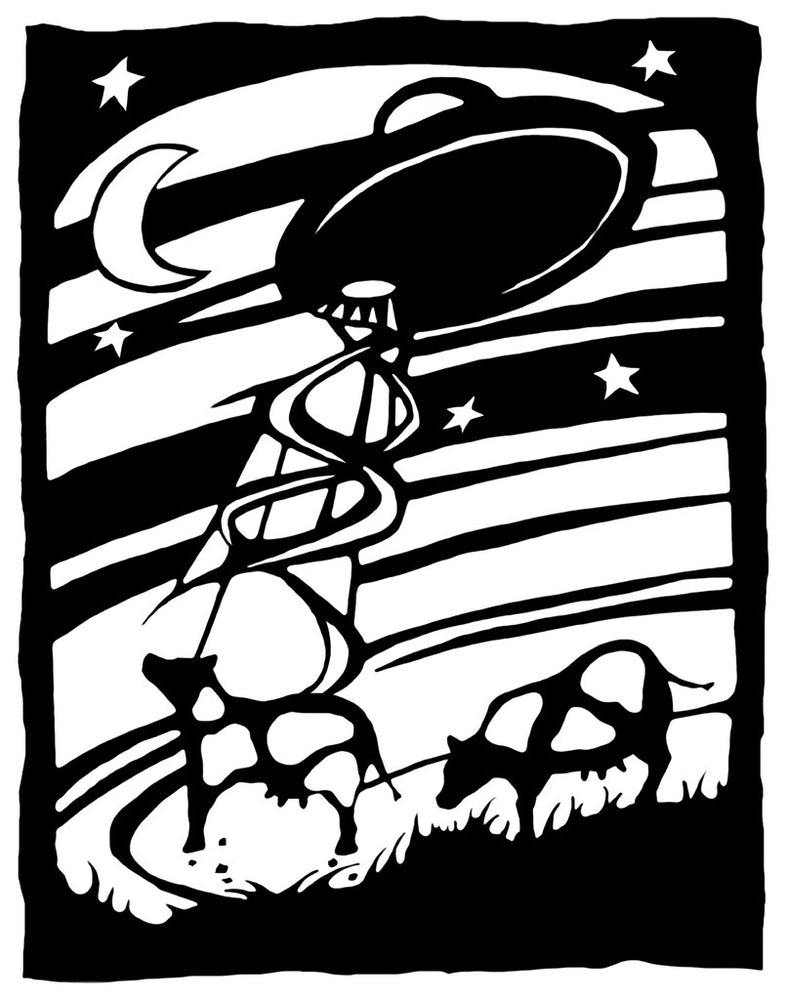Flying saucer in the night sky with cows.