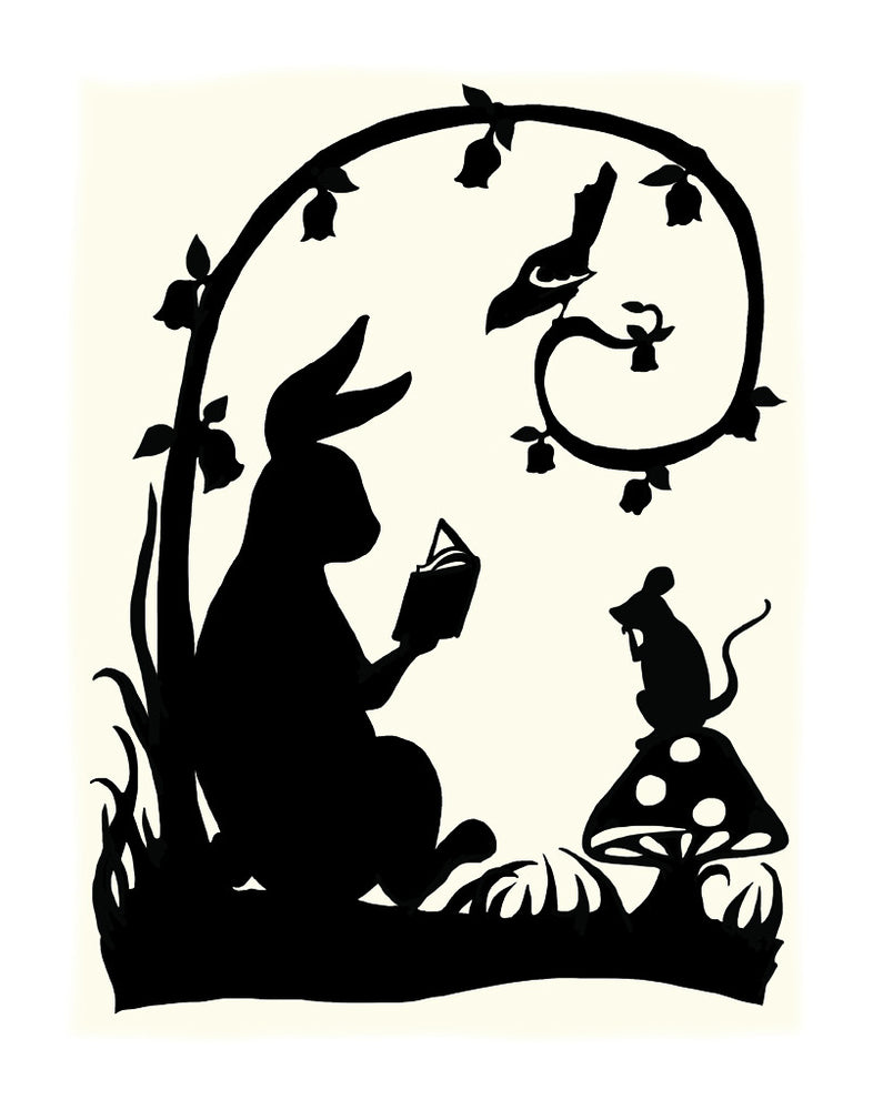 Rabbit reading a story to mouse and bird.