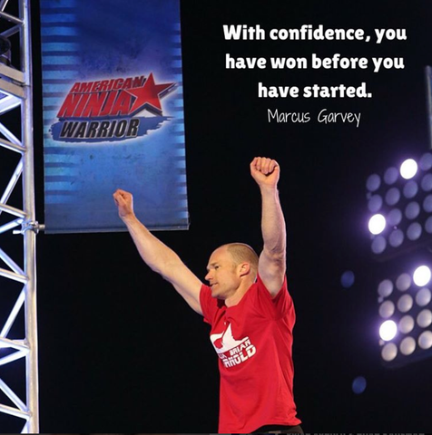 Brian Arnold celebrates getting the furthest on the American Ninja Warrior course