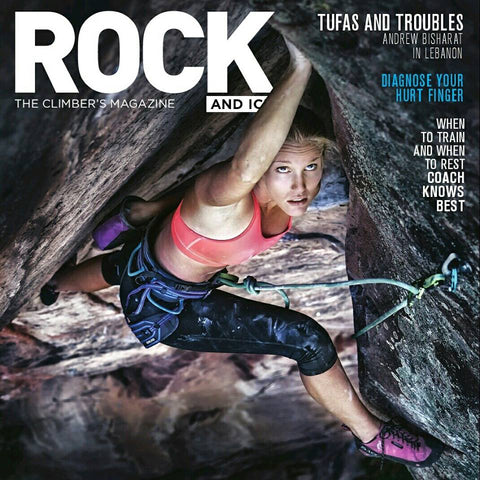 Alyse Dietel on the cover of Rock & Ice Magazine