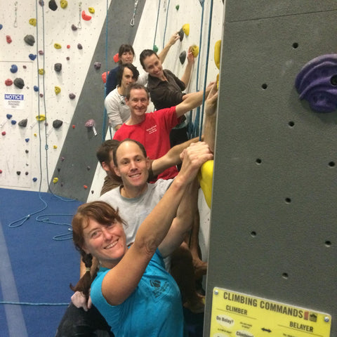 Don McGrath and friends in the climbing gym