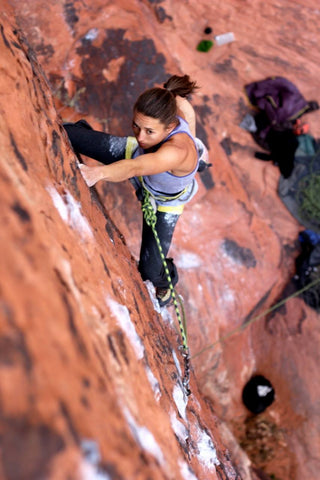 Neely Quinn of TrainingBeta sport climbing outside