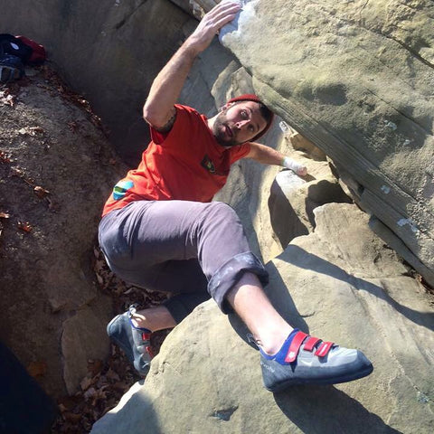 Jon Sedor bouldering outside on sandstone