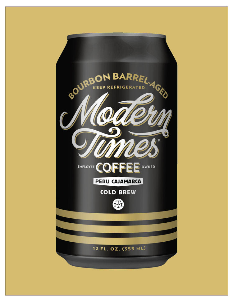 BOURBON BARREL-AGED PERU CAJAMARCA COLD BREW COFFEE (SINGLE 12oz CANS) - DELIVERY IN PDX