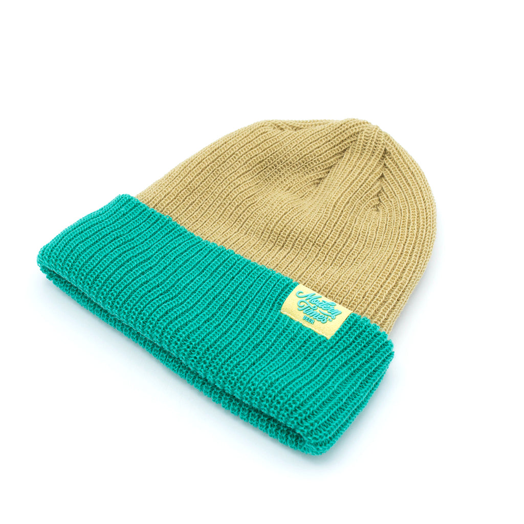 WOVEN BEANIE TEAL AND TAN