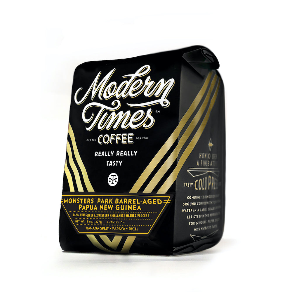MONSTERS' PARK BARREL-AGED PAPAU NEW GUINEA COFFEE BEANS (8oz BAG) - SEPTEMBER 2020