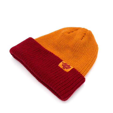 WOVEN BEANIE RED AND ORANGE