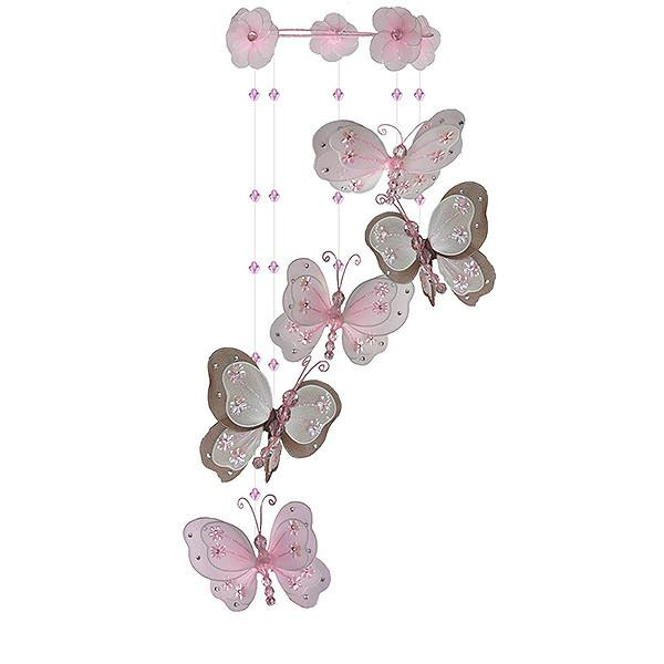 Brown-Pink Butterfly Bedroom Mobile