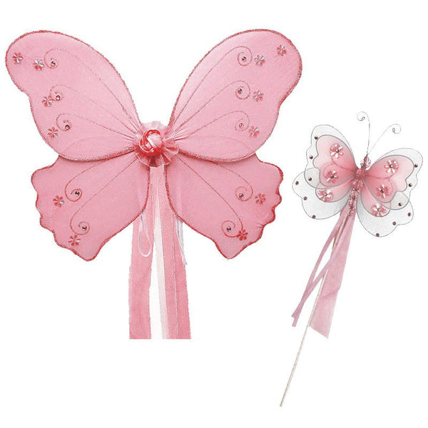 Pink Butterfly Fairy Wing and Wand Set