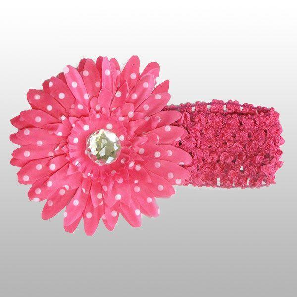 Pink Polka Dot Flower Headband