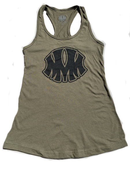 Ladie's Military Green Racerback Tank - Me Vale Madre Clothing
