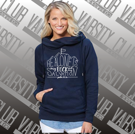 Shout Your Faith-32979-Ladies Classic Fleece MY ROCK Funnel Neck Pullover Hood