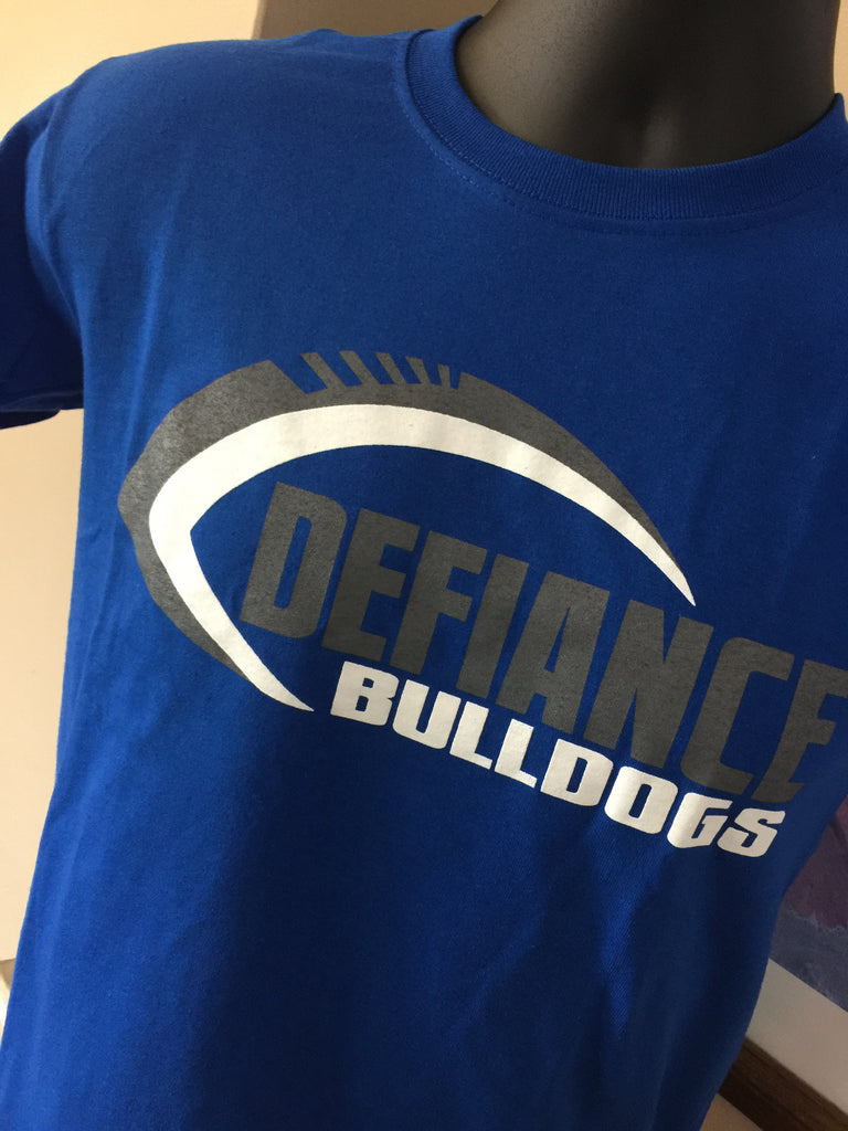 CLOSEOUT - Defiance Youth Football Tee, Royal