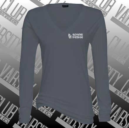 HPWO-EZ032-Ladies' Long Sleeve Essential V-Neck Tee - Graphite