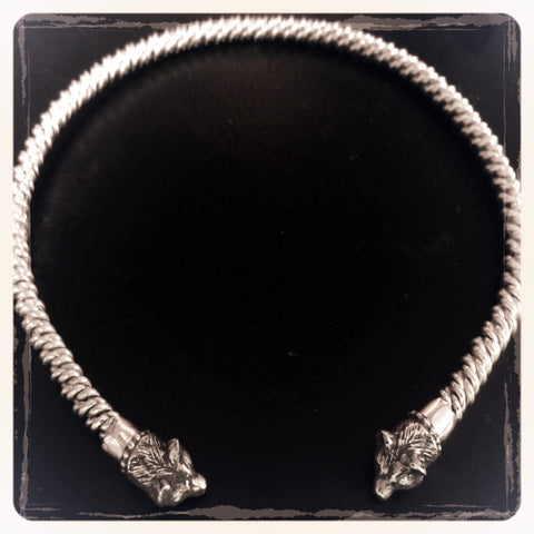 Sterling Silver Torc Necklace Bear Head Totem