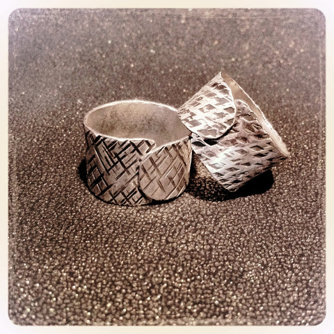 Sterling Silver Textured Flap Ring