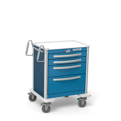 4-Drawer Short Aluminum Emergency Cart
