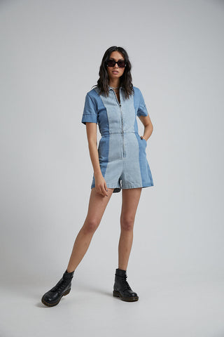 Mimi Hemp Denim Panelled Playsuit