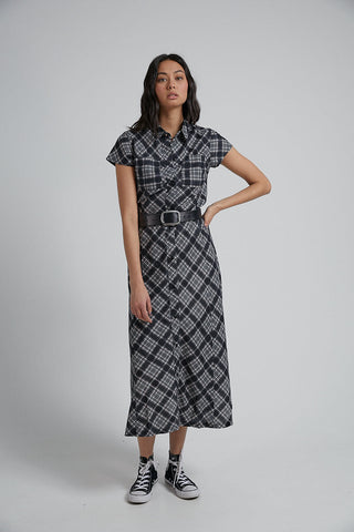Bodhi Hemp Check Maxi Dress