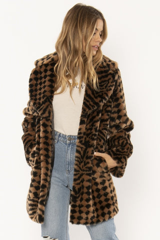 AMUSE SOCIETY Vera Woven Faux Fur Jacket