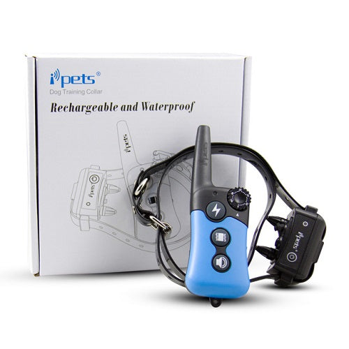 iPets PET619R Rechargeable Waterproof Remote E-Collar with Shock & Vibration for 1/2 Dogs 300m