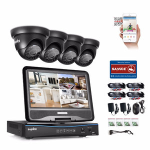 "SANNCE 1080N HDMI 4CH DVR 1200TVL 720P HD Outdoor 4pcs CCTV Security Camera System Surveillance Kit With 10"" LCD Monitor"