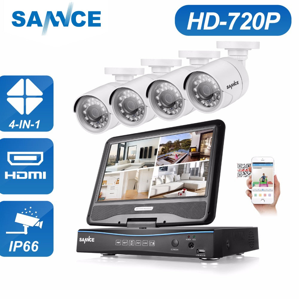 "SANNCE 10"" LCD Monitor DVR 4CH CCTV System 4pcs 1.0MP 1200TVL IR Outdoor Security Surveillance Camera 1TB HDD"