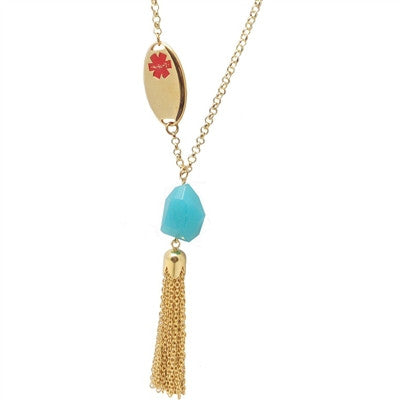 Turquoise Tassle Medical ID